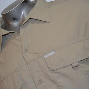 7673 Mens Columbia Fishing Shirt Size 2XL Tan